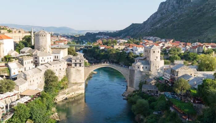 picture of a bridge over a town in Bosnia