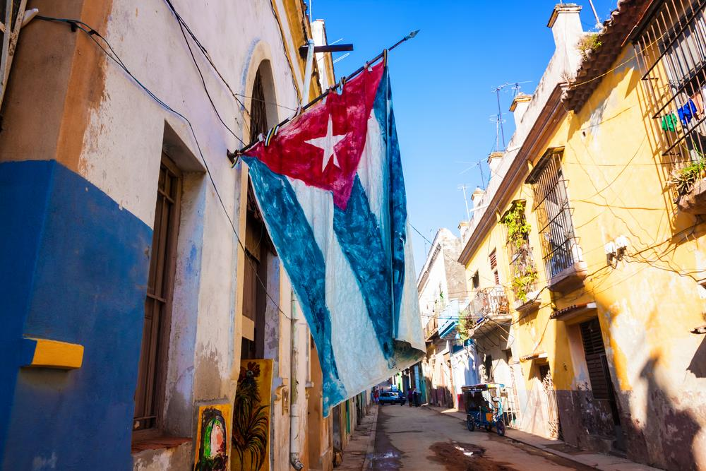 picture of the Cuban flag hanging in the street
